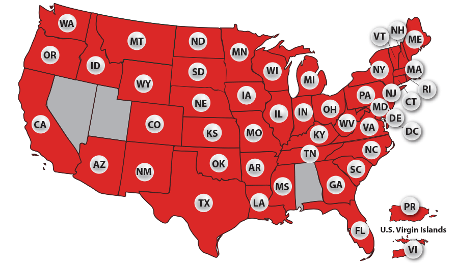 Map showing the states where Powerball is played